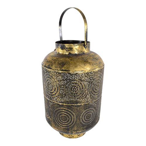 Moritz Windlicht orientalisch alt Gold Durchmesser 29,5 x 45 cm Arabisch verziert Muster Lampe für Garten Terasse Balkon Deko Gartenfackel Fackel Kerzen