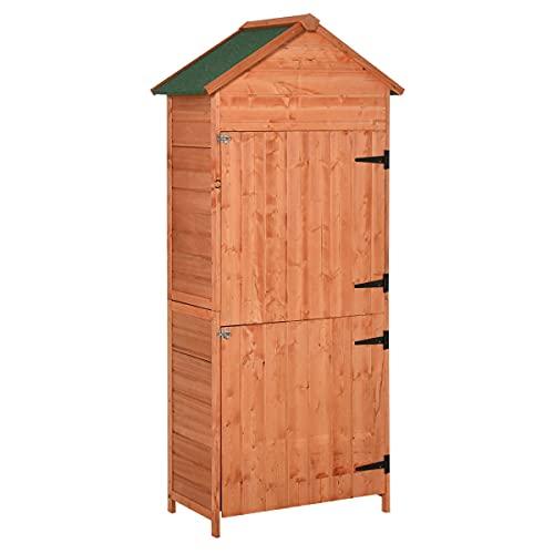 IKAYAA Armadietto da Balcone,Casetta Box Porta Attrezzi in Legno da Giardino Ripostiglio da Esterno