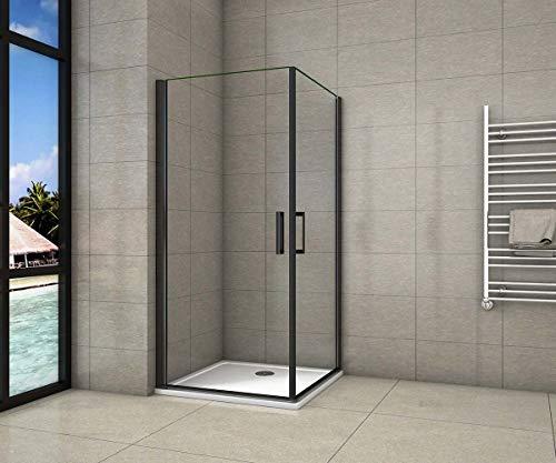 AICA cabine de douche 80x80cm porte de douche pivotante noir en 8mm verre anticalcaire hauteur:200cm