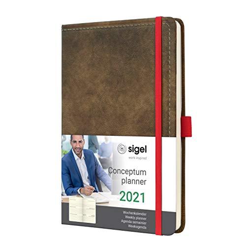 SIGEL C2155 Terminplaner Wochenkalender 2021, ca. A5, Hardcover, Vintage, Leder-Optik braun, mit vielen Extras, Conceptum - weitere Modelle