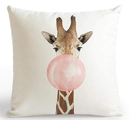 PENVEAT Cojín de respaldo para coche, color rosa, diseño de jirafa, koala, cebra, globo, rayas, triángulo, tienda de perfume, botella de niña, almohada nórdica, tamaño A1, 45 x 45 cm