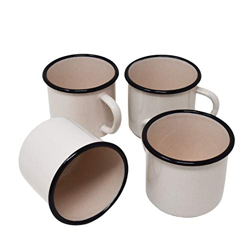 Surtido de 4 Tazas de Metal esmaltado - Blanco Rosado - 250 ml
