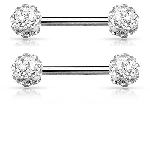 Crystal Paved Ferido Balls Nipple Bars Barbells Rings - 14G 316L Stainless Steel - Sold as a Pair (Clear)
