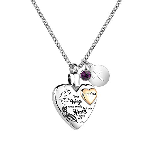LuxglitterLin Heart Urn Necklace for Ashes Grandma Cremation Memorial Keepsake Jewelry for Grandma -Your Wings were Ready My Heart was Not