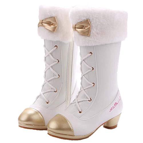 Mädchen Stiefel Ballerina Prinzessin Absatz Schuhe Hohe Stiefel Weihnachtsfeiertags Stiefel Hochzeit Winter Festlich für Kinder Bogen