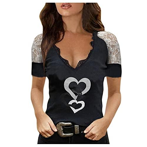 YANFANG Camisetas Mujer Tallas Grandes,Camiseta De Manga Corta Ajustada Estampada con Cuello En V Profundo Sexy Verano para Mujer,Camiseta Encaje Estampado Y Mujer,Blusas Grandes,Negro,L
