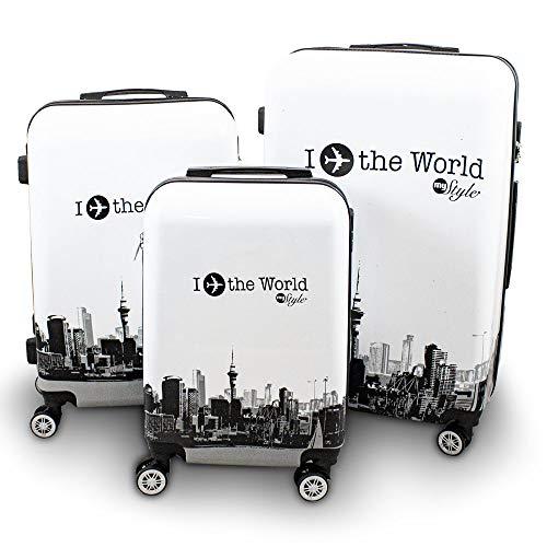 BERWIN® Design Koffer Reisekoffer Trolley Hartschalenkoffer Polycarbonat mit 4 Rollen als Set und Einzeln (Fly The World White, 3er Set (M/L/XL))