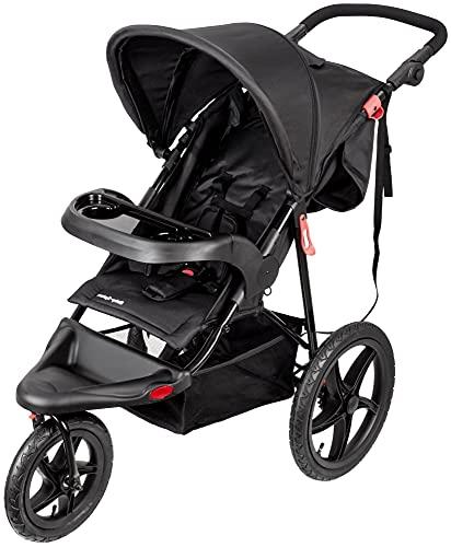 Moby-System Runner Dreirad-Kinderwagen Buggy Mountain Schwarz Für Kinder Bis 15 Kg, Es dreht sich gut Bequem Lässt sich leicht zusammenklappen, Schwarz