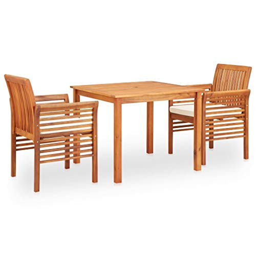 vidaXL Solid Acacia Wood Garden Dining Set 3 Pieces with Cushions Design Slatted Garden Furniture Table and Chairs for Outdoor Frame Brown