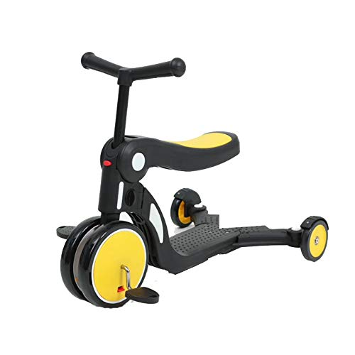 LITIAN Multifunktionale Fünf-in-one-Kinder Scooter 1-6 Jahre alt Pedal Dreirad Can Sit Yellow