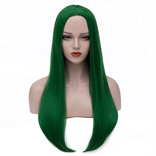 Bopocoko Long Green Wigs for Women 27'' Long Straight Hair Wigs Halloween Costume Wigs Cosplay Wig for Girls BU157GR