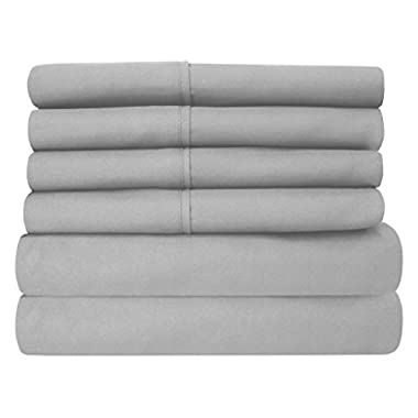 Sweet Home Collection 6 Piece 1500 Thread Count Brushed Microfiber Deep Pocket Sheet Set - 2 Extra Pillow Cases, Great Value