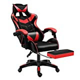 Sibosen Gaming Chair Office Chair Computer Chair High Back PU Leather Desk Chair Ergonomic Adjustable Reclining Swivel Game Chair with Footrest Lumbar Support Headrest Armrest (Red)