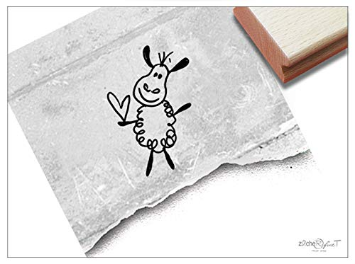 Stempel Tierstempel Schaf mit Herz - Kinderstempel Geschenk für Kinder Kita Kinderzimmer Schule Einschulung Geburtstag Basteln Deko - zAcheR-fineT