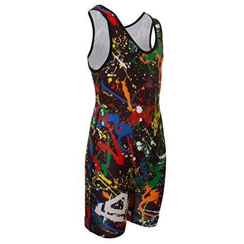 KO Sports Gear Wrestling Singlet Paint Splatter (Youth M : 50-65 lbs)