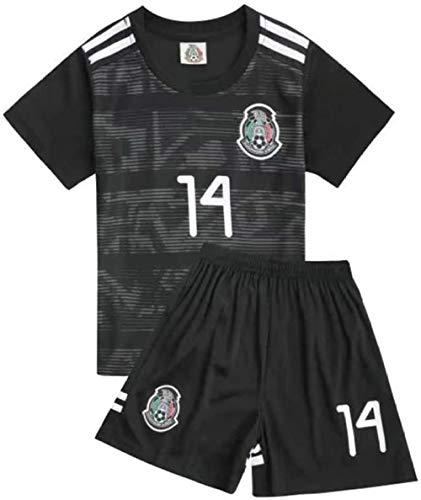 WM Fußball Trikot Set Mexiko Team Nr. 14 Chicharito Fußballtrikots für Fans Kleinkinder-Schwarz_10 Jahre