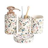 Bomba de jabón líquido para manos 4 piezas de baño de cerámica Set de accesorios de mármol del arco iris textura Baño Completo decoración kit incluye dispensador de la loción Tumbler - Jabonera regalo