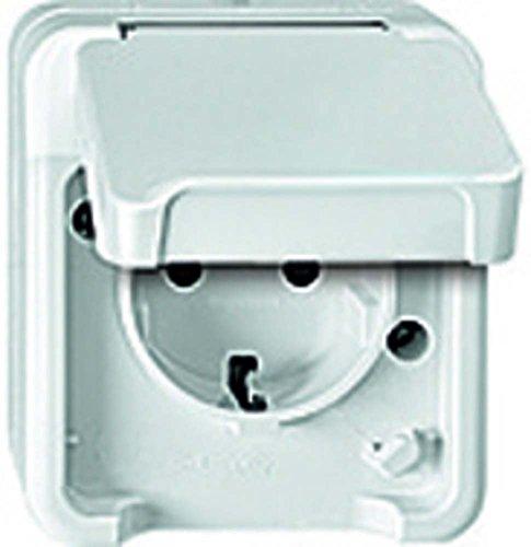 Merten MEG2300-8019 SCHUKO-Steckdose mit erhöhtem Berührungsschutz, polarweiß, AQUASTAR, Weiß