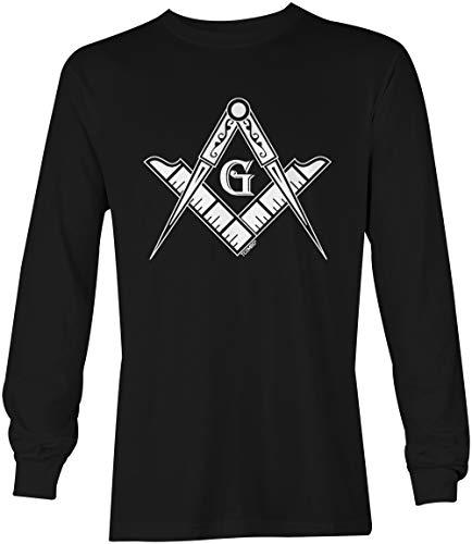 Freemason Logo - Illuminati Square & Compass Unisex Long Sleeve Shirt (Black, XXX-Large)