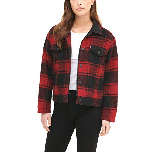 Levi's Women's Wool Blend Classic Trucker Jacket, Red Buffalo Check Plaid, X-Large