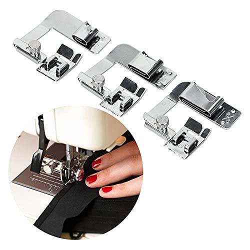3 Piezas Prensatelas para máquina de coser,prensatelas para uso doméstico,profesional de costura doméstica pie laminado dobladillo prensatelas máquina(4/8, 6/8,8/8 pulgadas)