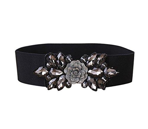 E-Clover Fashion Floral Rhinestone Buckle Women's Elastic Waist Cinch Belt for Dress for Size 0-10 (Black01)