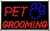 "led011ペットグルーミング犬Shop LED Neon Light Sign W 16""x H 10""x D 0.5"" レッド"