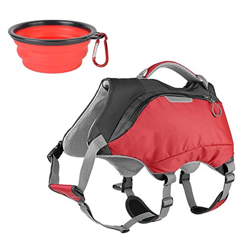 Ultrafun 2 in 1 Dog Life Jacket and Backpack Vest Harness Outdoor Hiking Dog Saddlebag with Collapsible Pet Bowl (Medium, Red)