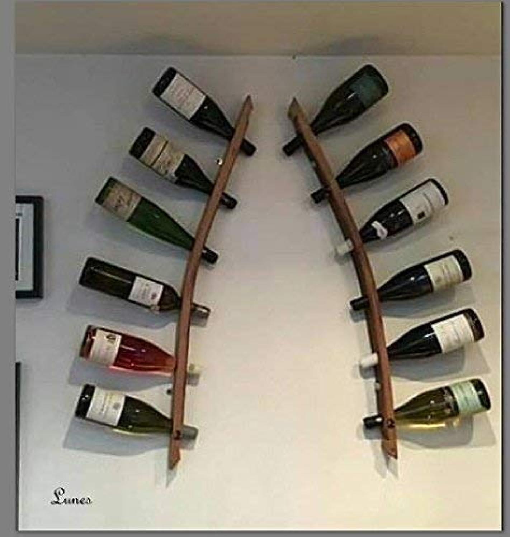 Lunes Doppelweinregal - Flaschenregal aus 2 Fassdauben. Das perfekte Geschenk für den Weinliebhaber  Handgemacht mit 100% recycelten Eichenfssern aus der Weinregion Corbières in Südfrankreich