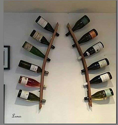 Lunes - hölzernes Weinregal für die Wandregal aus 2 Dauben aus recyceltem Eichenfass. Weinliebhaber Geschenk!