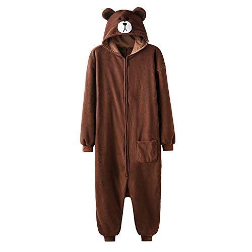 Schlafanzug Animal Onesie Plus Size Bär Kigurumis Erwachsene Frauen Männer Pyjama Schlaf Overall Polar Fleece Zipper Jumpsuit-XL