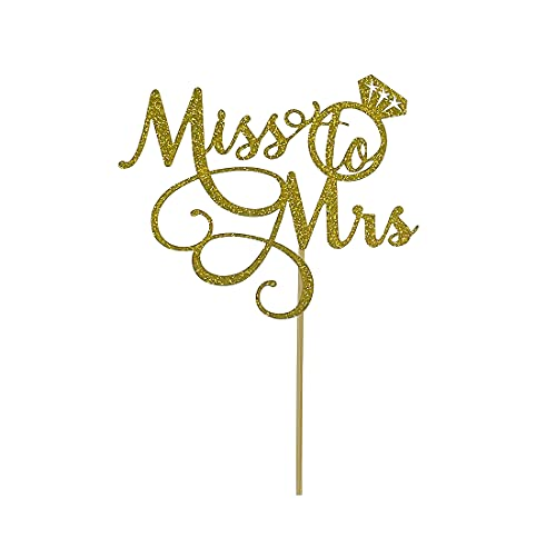 Gold Glitter Miss To Mrs Cake Topper - Bridal Shower, Mr and Mrs Wedding / Engagement / Marriage Party Decoration