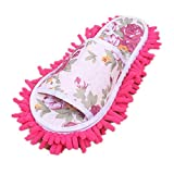 Aniywn Women's Slippers for Floor Cleaning, Dust Cleaning Socks Microfiber Slippers, House Slippers Floor Cleaning Tools Hot Pink