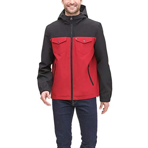 Levi's Men's Arctic Cloth Performance Hooded Rain Jacket, Red/Black, X-Large