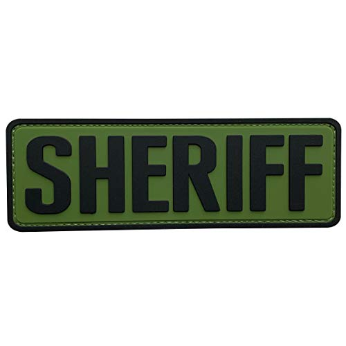uuKen Big PVC Rubber Sheriff Patch 2x6 inches OD Green with Hook Back for Tactical Morale Vest Police Officer Law Enforcement or Combat Plate Carrier