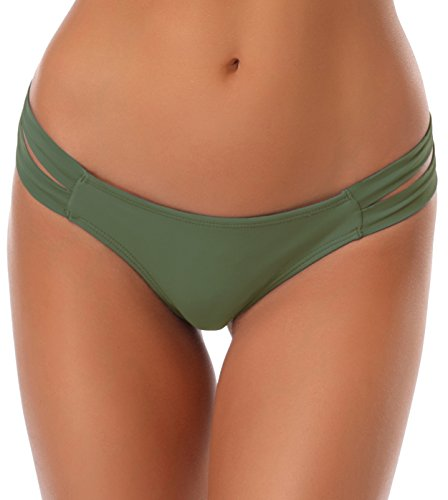 SHEKINI Damen Niedrige Taille Bikini Bottom Bademode Tanga Bikinihose Chic Aushöhlen Brazilian Bikini Slip (S,Olivgrün)