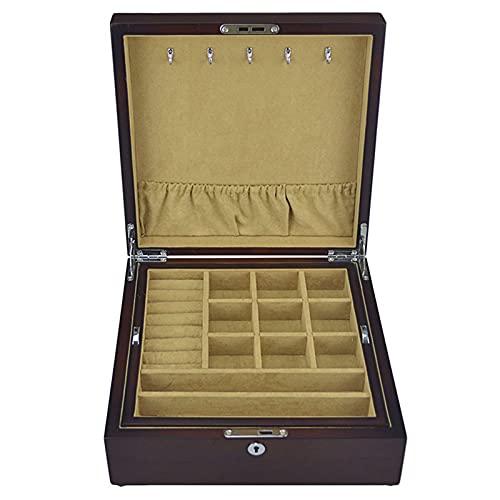 DFQX Jewelry Box 2 Capa Hebilla Snap y Lock Jewelry Organizer para Mujer y Titular de Las niñas para el Anillo de Pendiente Collar y Pulsera