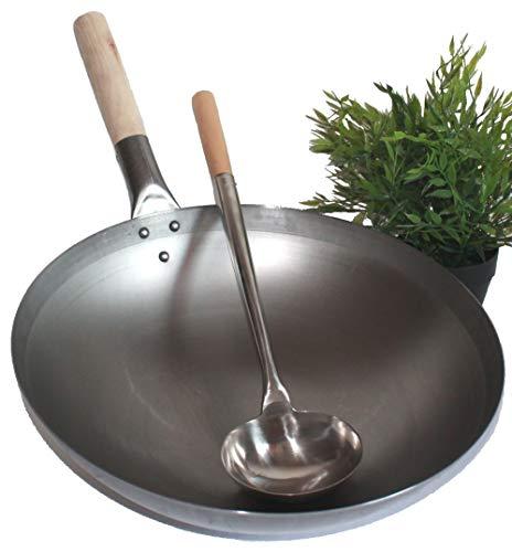 AAF Nommel ®, Wok Set, Pfanne 40 cm Ø runder Boden Carbon Stahl für Gasherd und Induktion Mulde + Wok Kelle Edelstahl 44 cm lang mit Holzgriff