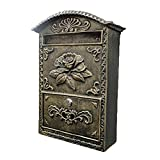 ZYSM Mailbox with Post Wall Mount Galvanized Post Box with Locking for Outside Post-Mount Mailbox Secure Retro Large Capacity Mailboxes Residential Post Mount Mailbox Letters Outdoor,Brown