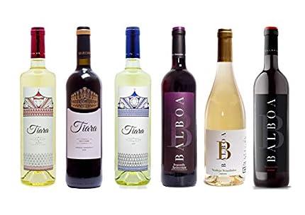 Pack 6 Botellas Vinos Blancos y Tintos de Bodegas Tiara. Vino de la Tierra de Extremadura. Producto 100% extremeño.