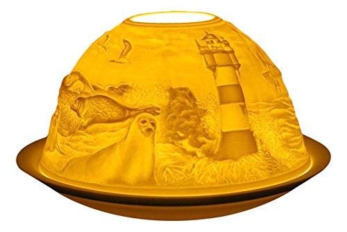 Himmlische Düfte Geschenkartikel GmbH Leuchtturm Windlicht, Porzellan, Weiss, 12x12x8 cm