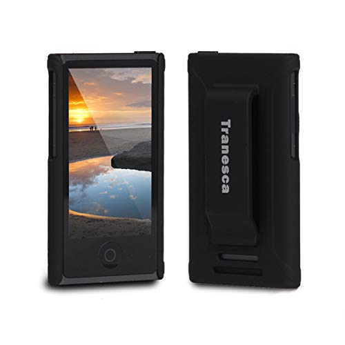 Tranesca Ultra Slim Protective Case for iPod Nano 7&8th Generation with Premium Tempered Glass Screen Protector.(Obsdian Black)