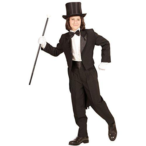 Amakando Kinderfrack schwarz - 140, 8 - 10 Jahre - Anzug Jacke für Jungen Kinder Bräutigam Kostüm Gentleman Gehrock Hochzeit Zauberer Magier Kinderkostüm Eleganter Frack für Kinder