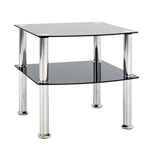 HAKU Möbel 15508 Beistelltisch, Glas 5mm, Edelstahl-schwarz, 45 x 45 x 44