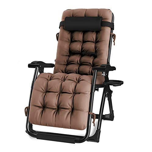 """Oversized Zero Gravity Chair, Lawn Recliner, Reclining Patio Lounger Chair, Folding Portable Chaise, with Detachable Soft Cushion, Cup Holder, Adjustable Headrest, Support 500 lbs. (24"""" Wide)"""