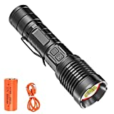 USB Rechargeable Flashlight Powerful 10000 High Lumens XHP199 LED Tactical Flashlights Brightest Pocket Waterproof Zoomable Power Bank Power Display 5 Modes with 18650 Battery for Camping Emergency