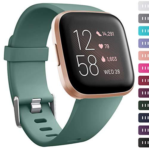Wepro Kompatibel mit Fitbit Versa/Versa 2 / Fitbit Versa Lite Armband - Glattes Gefühl Weiche Silikonarmbänder für Frauen Männer S Kiefern Grün