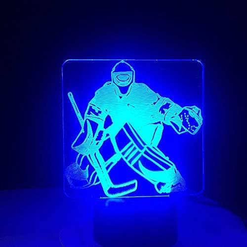 LED-Nachtlicht, Nachtlicht mit 7-farbwechselndem Nachtlicht, Eishockey-Torwart, Muster, Baby, Kinder, Nachttischlampe, Kinderzimmer, Kinderzimmer, Urlaubsgeschenk