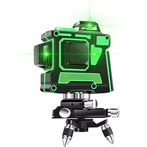 Niveles de Láser Verde 3D 12 Líneas, Autonivelación 360 Cruz Horizontal y Vertical Super Potente Línea de Rayo Láser Verde, Nivel Láser Autonivelante, IP54 a Prueba de Agua (A)