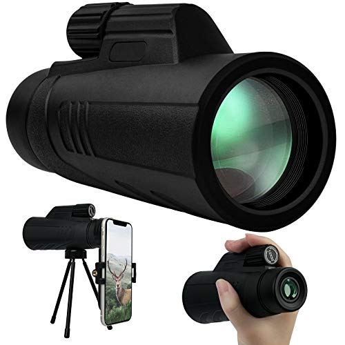 Monocular Telescope, 12x50 High Power HD Monocular for Smartphone, for Bird Watching, Camping, Hiking - with Smartphone Holder & Tripod
